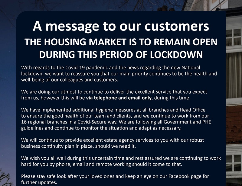 Housing Market to remain open during lockdown